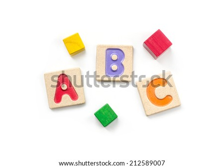 Wooden alphabet blocks with letters on white background , abc on white background - stock photo
