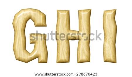 Wooden alphabet isolated on white background. - stock photo