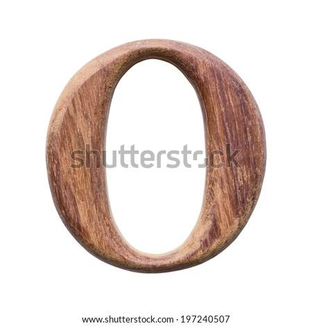 Wooden alphabet isolated on white background ,letter O - stock photo