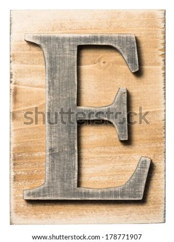 Wooden alphabet letter block isolated on white - stock photo