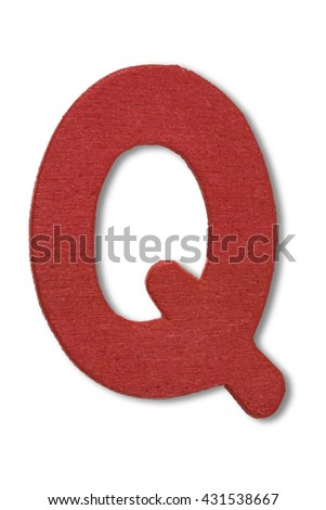 Wooden alphabet letter with drop shadow on white background, Q - stock photo