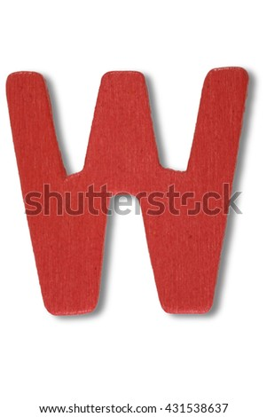 Wooden alphabet letter with drop shadow on white background, W - stock photo