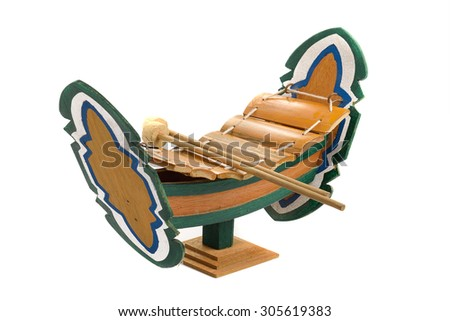 Wooden Alto xylophone Thai culture musical instrument - stock photo