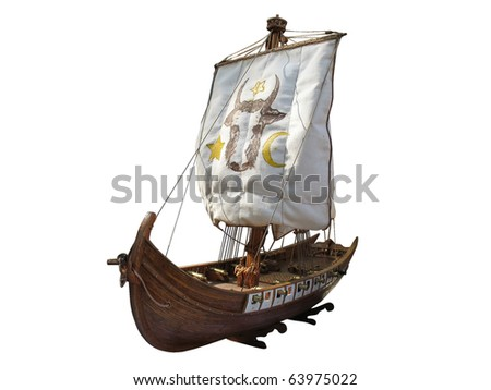 Wooden Antique ship isolated over white background - stock photo