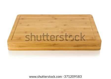 Wooden antiseptic cutting board isolated on white background - stock photo