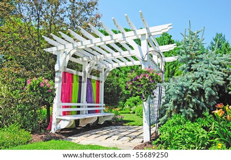 wooden arch gate - stock photo