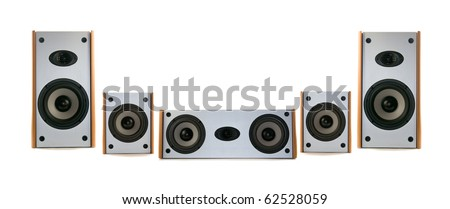 wooden audio speakers - stock photo