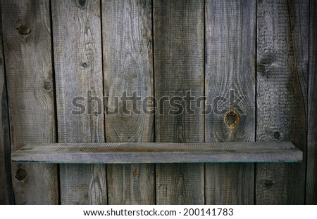 Wooden background with a shelf. - stock photo