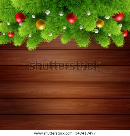 Wooden background with branches of Christmas tree and baubles. Merry Christmas card. raster copy - stock photo