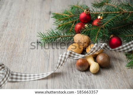 wooden background with christmas decoration - stock photo