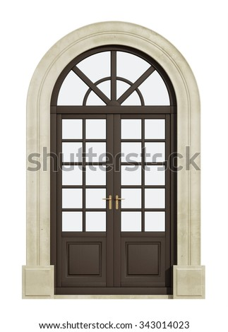 Wooden balcony arch door isolated on white - 3D Rendering - stock photo