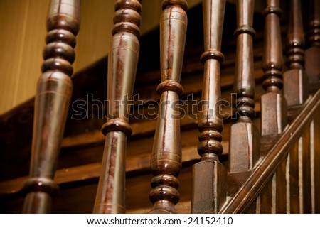 Wooden banister of home interior - stock photo