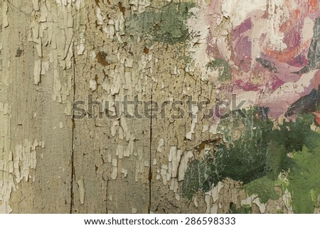 Wooden bark with cracked old paint, vintage style - stock photo