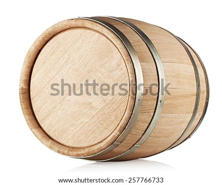 Wooden barrel lying on its side isolated on white background - stock photo