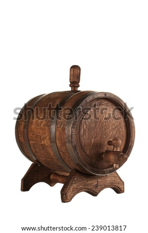 Wooden barrel with iron rings isolated on white - stock photo
