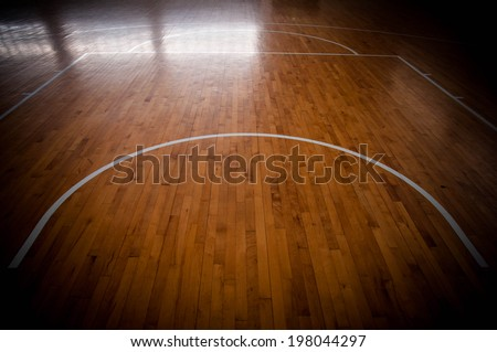 Wooden basketball court for background - stock photo