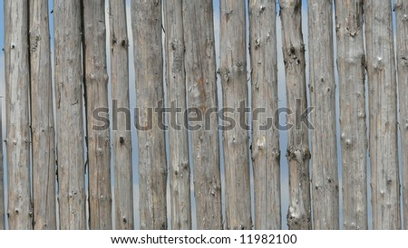 Wooden beams, wood fence - stock photo