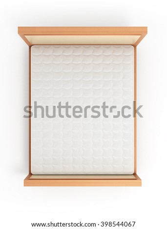 wooden bed with a mattress isolated on white - stock photo