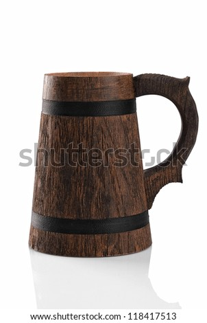 Wooden beer mug isolated on a white background. File contains path to cut. - stock photo