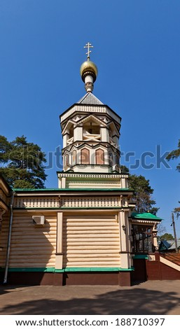 Wooden bell tower of orthodox church of Trinity (circa 1897). Udelnaya settlement, Moscow region, Russia - stock photo