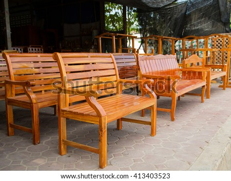 wooden bench  - stock photo