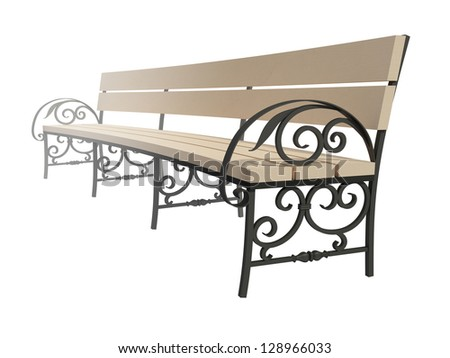Wooden bench on twisted legs separately on a white background - stock photo