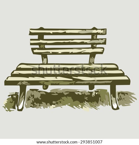 Wooden bench. Shades of green and yellow. Raster version - stock photo