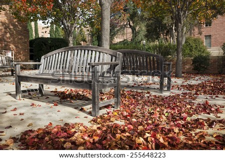 Wooden benches in a peaceful courtyard  - stock photo