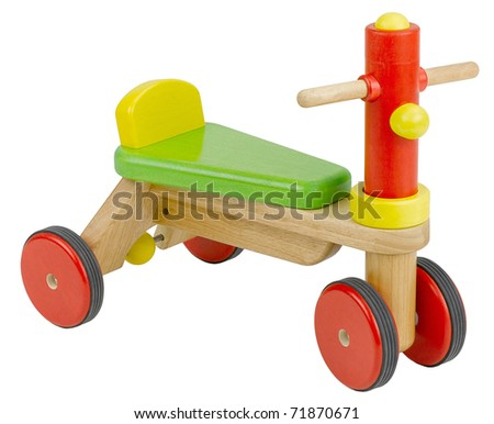 Wooden bicycle toy for children the image isolated on white - stock photo