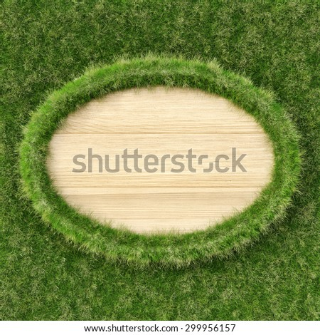 Wooden billboard with edges from grass. eco concept. - stock photo