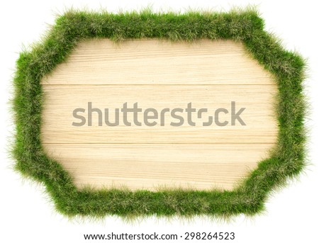Wooden billboard with edges from grass. isolated on a white background. - stock photo