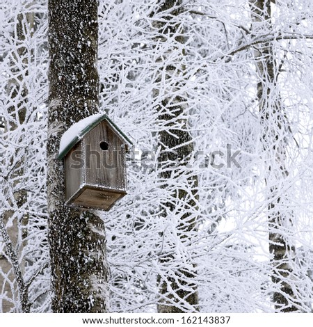 Wooden birdhouse hanging on the tree at winter - stock photo