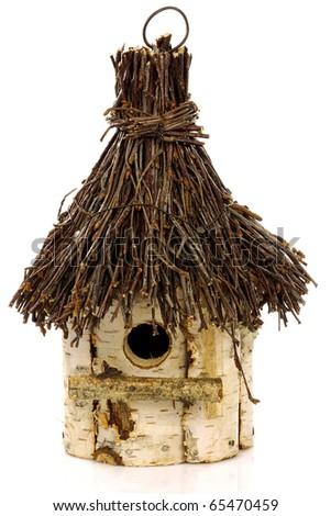 wooden birdhouse on a white background - stock photo