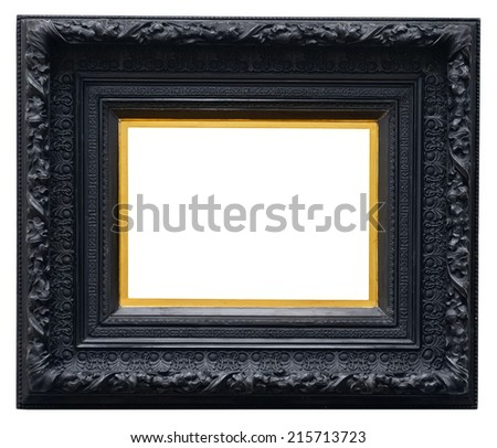 Wooden black vintage frame isolated on white background - stock photo