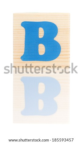 Wooden block with letter B, isolated on white background - stock photo