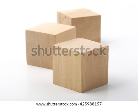 Wooden blocks are isolated on white background. - stock photo