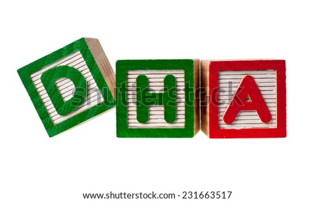 Wooden blocks forming the letters DHA isolated on white background  - stock photo