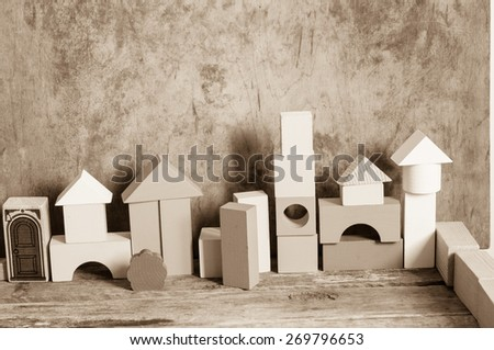 Wooden blocks in vintage style - stock photo