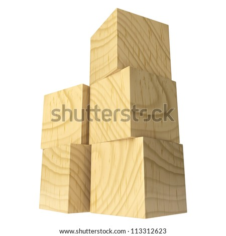 Wooden blocks isolated on a white background. 3d render illustration - stock photo