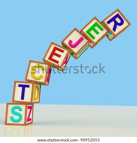 Wooden Blocks Spelling Rejects Falling Over As Symbol for Failure And Malfunction - stock photo