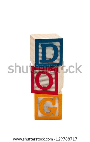 Wooden blocks that spell out Dog.  Isolated on white background. - stock photo
