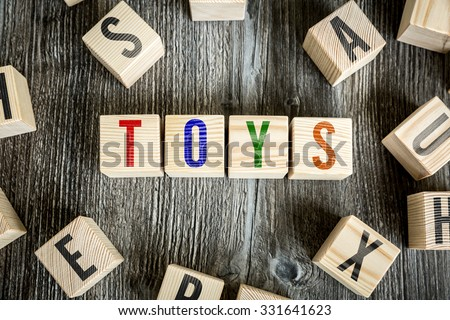 Wooden Blocks with the text: Toys - stock photo