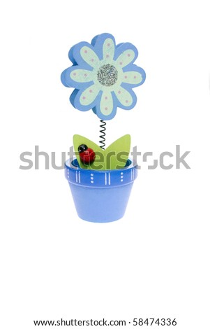 Wooden blue flower isolated on white background - stock photo