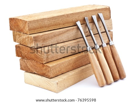Wooden board and chisels for wood isolated on white - stock photo