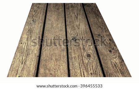 Wooden Board, Old Floor Striped Planks, Vintage White Timber or Grunge Table. - stock photo