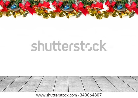 Wooden board the Christmas decorations - stock photo