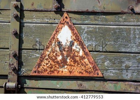 wooden board with an iron sign student rust - stock photo