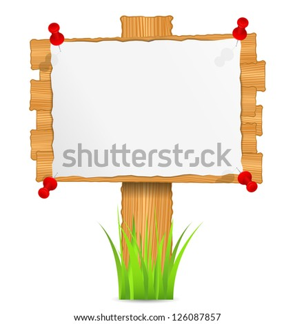 Wooden board with attached paper - stock photo