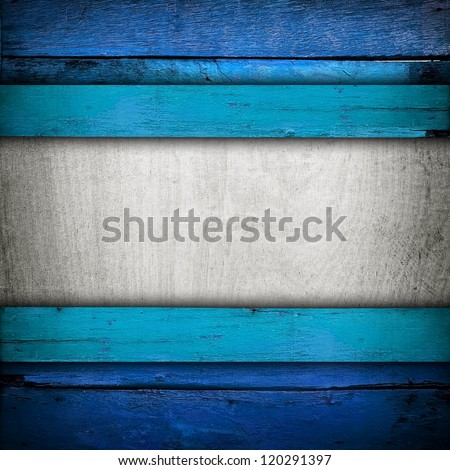 wooden board with blue paint - stock photo