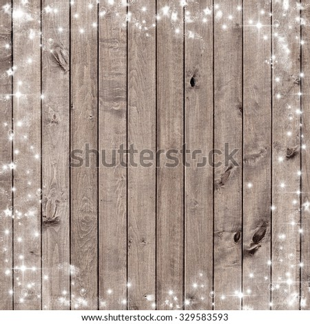wooden board with snow flakes . Christmas background - stock photo